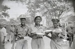 Cadres of the Women's Brigade having a meal