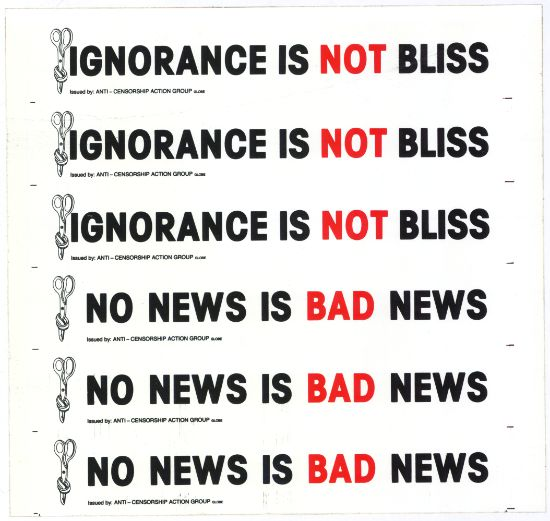 Poster: Ignorance not Bliss, No news is bad news