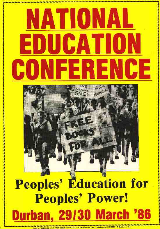 National Education Conference, 'People's Education for People's Power', Durban, March, 1986, SAHA Poster Collection, AL2446_0234