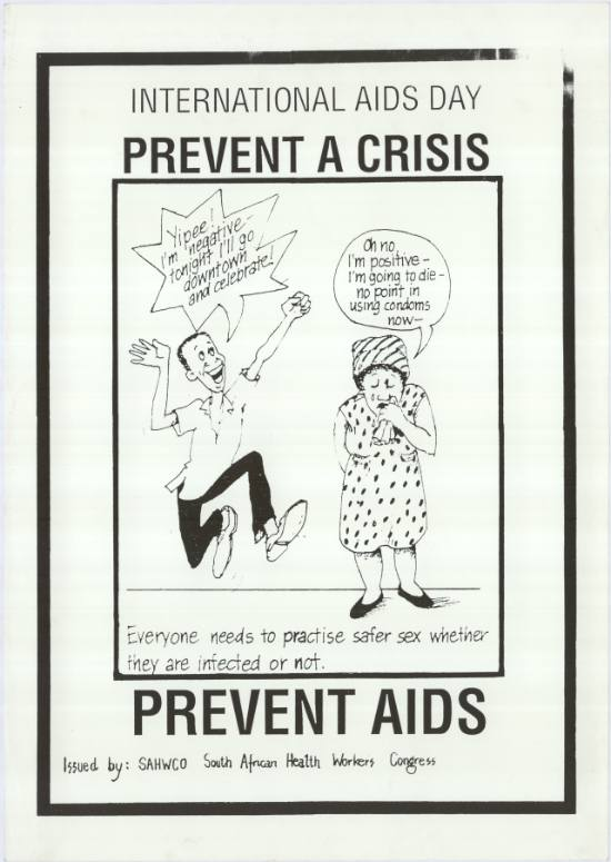 International AIDS Day, 'Prevent a crisis', issued by the South African Health Workers Congress, SAHA Poster Collection, AL2446_0392