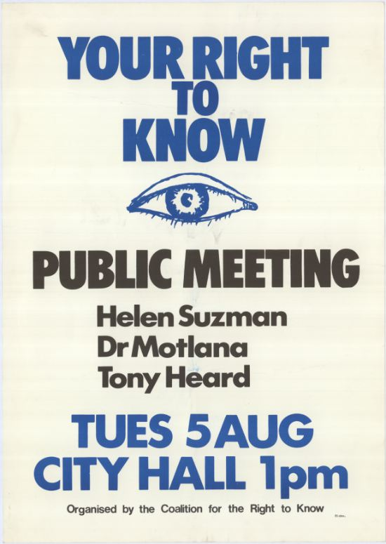 Your Right to Know Meeting Poster, the Coalition for the Right to Know, SAHA Poster Collection al2466_0567