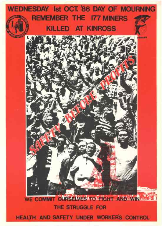 National Union of Mineworkers commemorative poster, 1 October, 1986, SAHA Poster Collection, AL2446_0763
