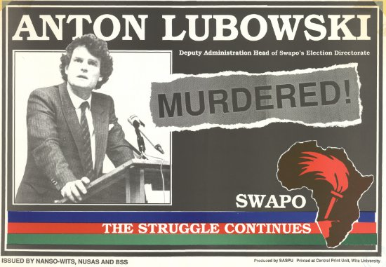 Anton Lubowski, South Africa SWAPO Election Directorate, South African Students Press Union (SASPU), SAHA Poster Collection, AL2446_1484