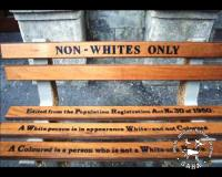 Still image from Meeting history face-to-face depicting an artistic portrayal of 'Non-whites only' benches that were central to South Africa's heritage of racist, unjust separate amenities legislation, AL3282_c1.10.4