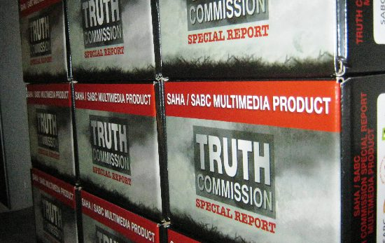 Truth Commission Special Report Multimedia Product displayed at the Ramparts at Constitution Hill, 9 December, 2010