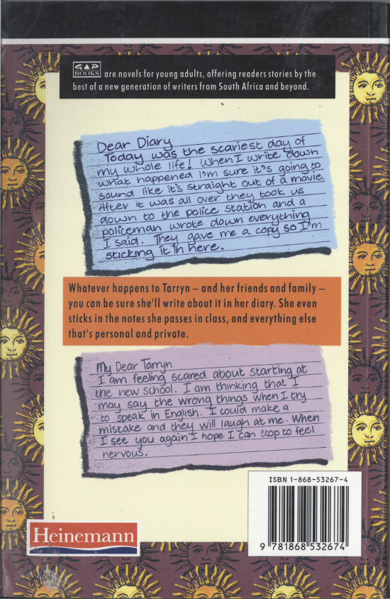 "Back cover of Julie Frederikse's book ""The Diary That Got Me In Trouble"", published by Heinemann South Africa, 1996. Archived as SAHA collection AL2460_TDGMIT_01_p158"