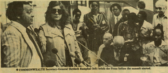 TIMES OF ZAMBIA news clipping of Julie Frederikse with Commonwealth Secretary-General Shridath Ramphal, 4 August 1979. Archived as SAHA collection AL2460_U01.01
