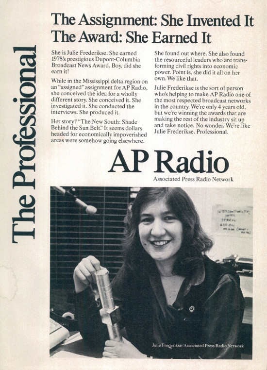 Advertisement for AP Radio featuring Julie Frederikse, circa 1979. Archived as SAHA collection AL2460_U01.03