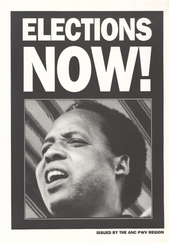 Poster, produced by  ANC Pwv region, date 1993. Archived as SAHA collection AL2446_0712