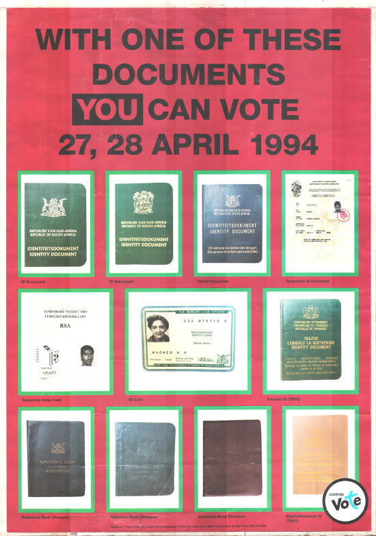 Offset litho poster, produced by project vote, dated 1994. Archived as SAHA collection AL2446_0021