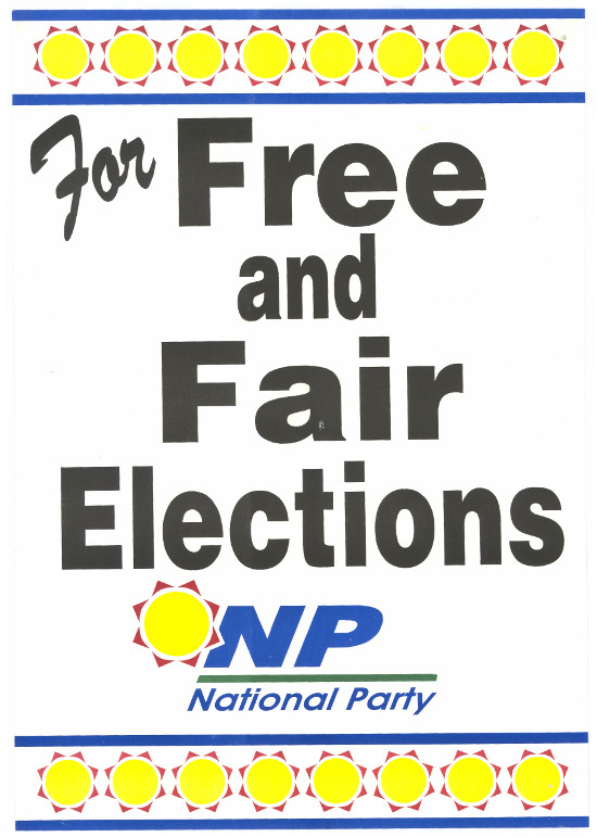 Offset litho, produced by the National Party, date 1994. Archived as SAHA collection AL2446_0674