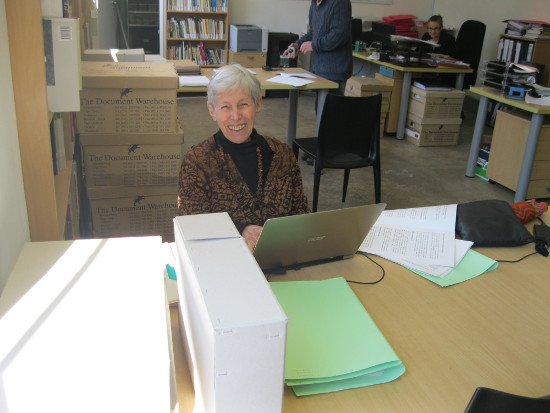 Professor Shula Marks consulting SAHA archival collection, 2014