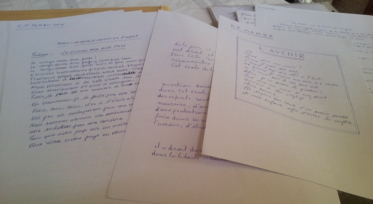 Poems written by young people about their hopes for the DRC as part of the 'At the School of Peace' project
