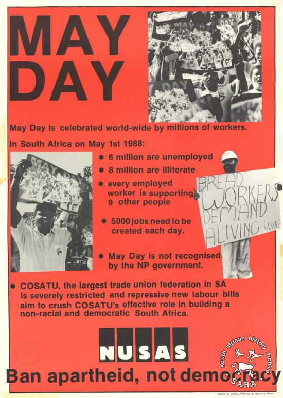 Offset litho poster, issued by the National Union of South African Students (NUSAS), 1988. Archived as SAHA collection AL2446_1292