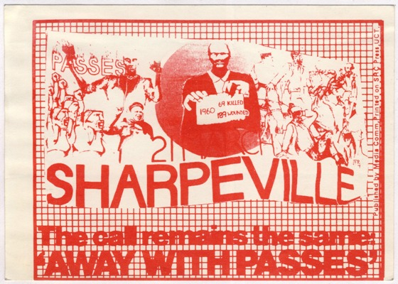 Sticker commemorating the Sharpeville massacre, date unknown. Archived as SAHA collection AL2540_D0185