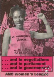 Offset litho poster issued by the African National Congress Women's league (ANCWL), date unknown. Archived as SAHA collection AL2446_0582