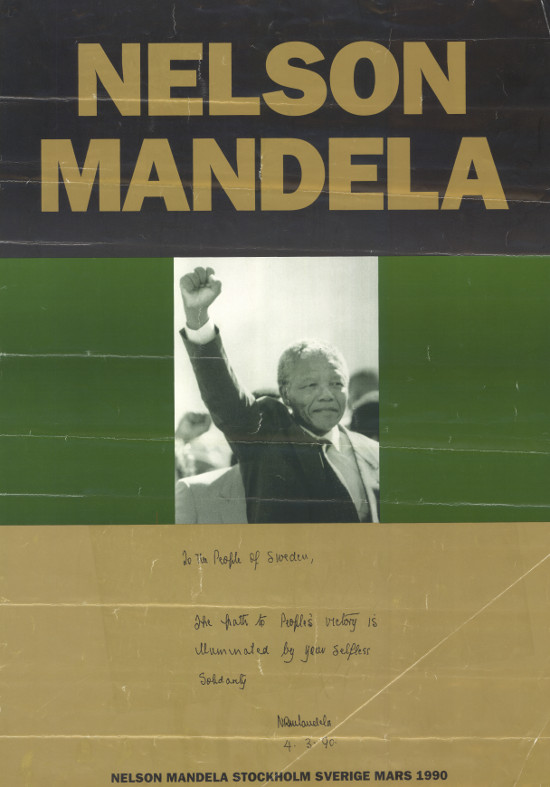 Offset litho poster, issued by the Swedish Committee for the Release of Nelson Mandela, 1990. Archived as SAHA collection AL2446_0817