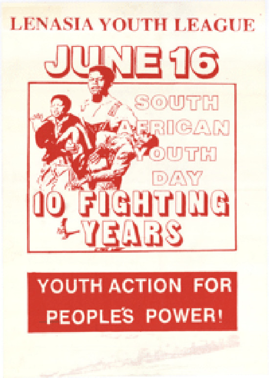 Offset litho poster, issued by the Lenasia Youth League, 1986. Archived as SAHA collection AL2446_1191
