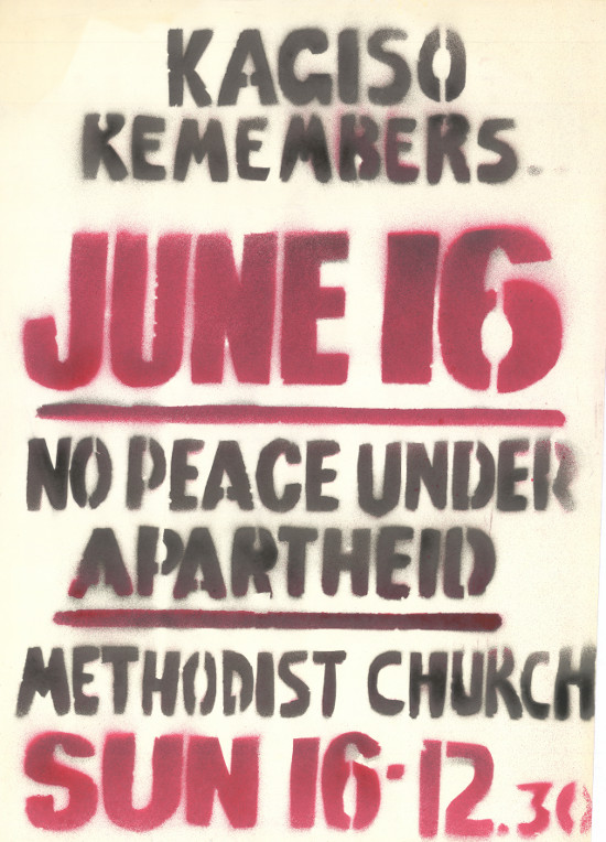 Spray-painted poster, issued by the Kagiso Youth, circa 1986. Archived as SAHA collection AL2446_1205