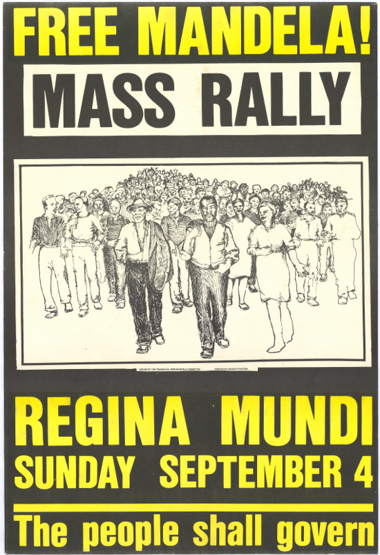 Offset litho poster, issued by the Release Mandela Campaign/Committee, 1984. Archived as SAHA collection AL2446_1455