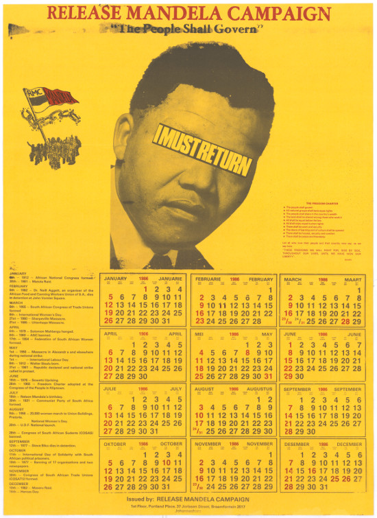 Offset litho poster, issued by the Release Mandela Campaign/Committee, 1986. Archived as SAHA collection AL2446_2097