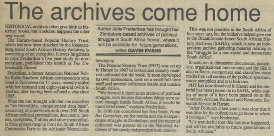 'The archives come home' in