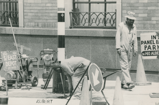 This black and white photograph of municipal workers carrying out repairs was taken by an unknown photographer. Date unknown. This photograph was digitised by Africa Media Online (AMO) in 2009. SAHA archival call number AL2547_11.3.1.