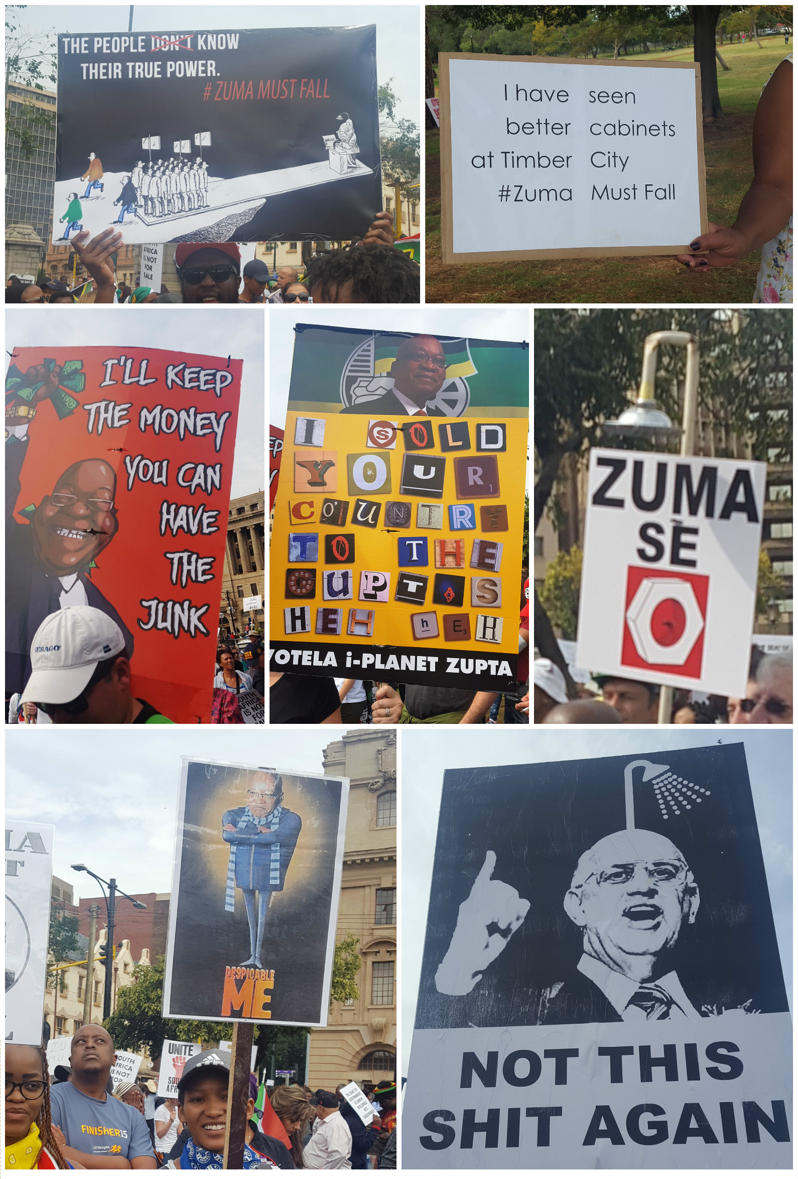 A collage of posters from the AntiZumaMarch which had humous elements