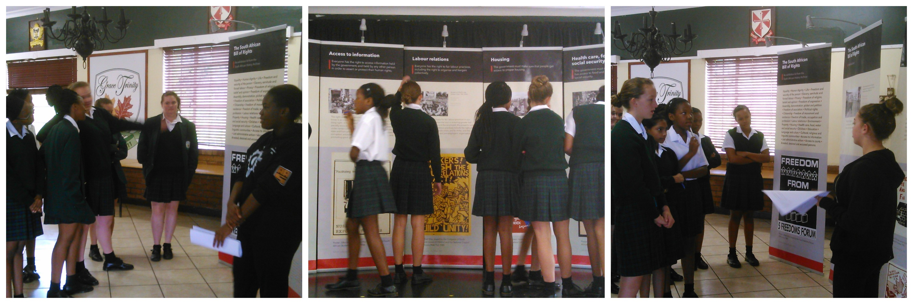 Collage of students at Grace Trinity School for Girls discussing SAHA's Bill of Rights exhibition, March 2015. Image credit: Grace Trinity School for Girls