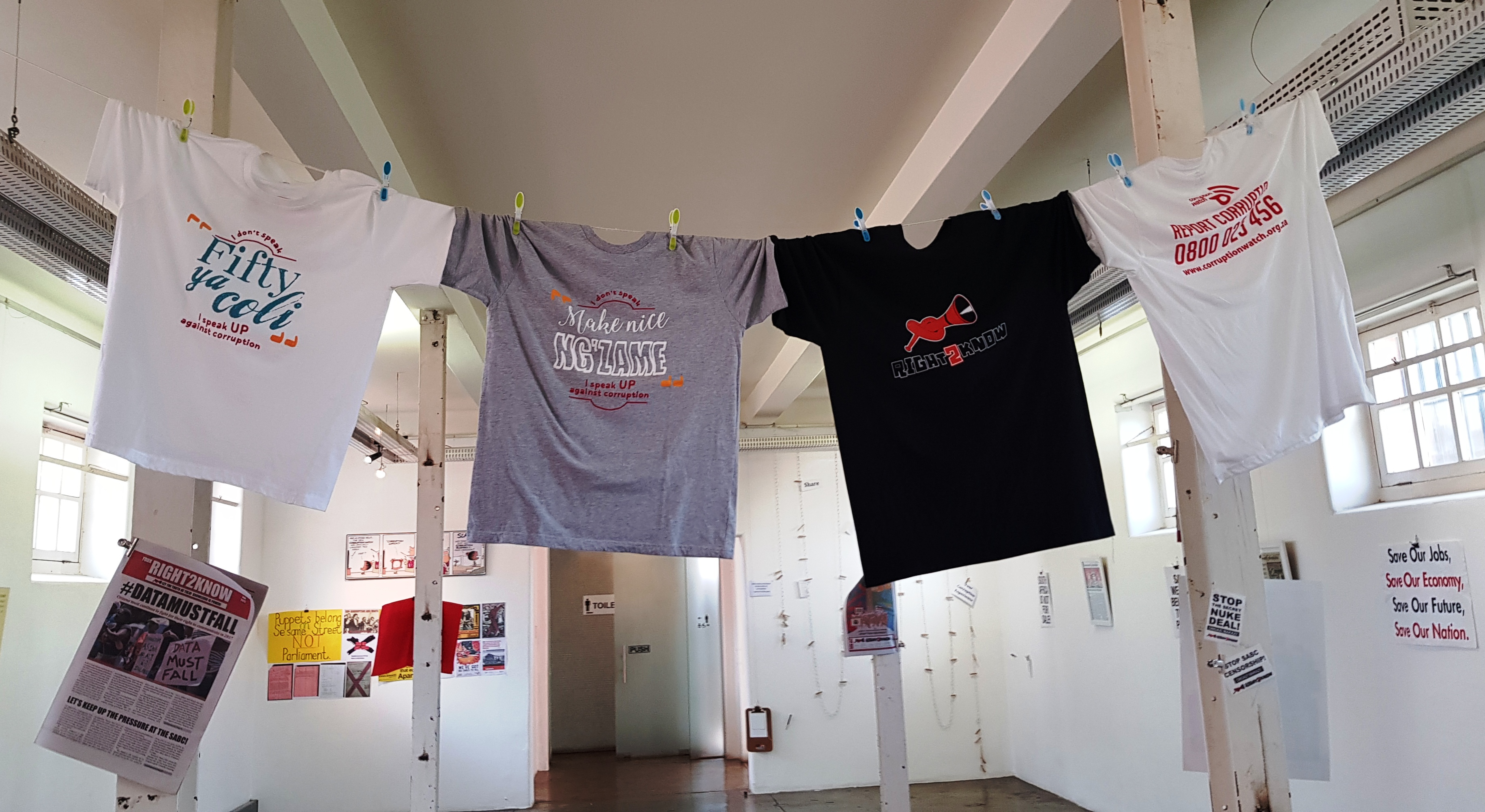 Tshirts from the people against corruption exhibition