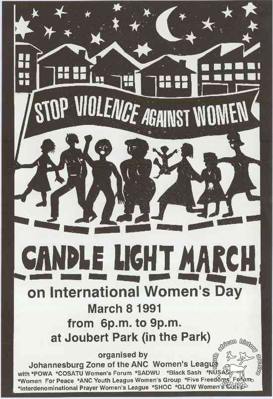 Offset litho poster, issued by the ANC Women's League, 1991. Archived as SAHA collection AL2446_0575