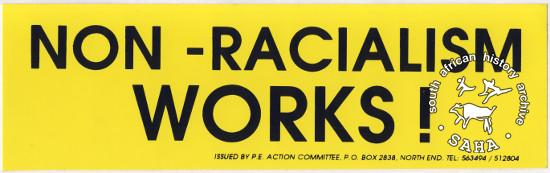 Sticker, issued by the P.E. Action Committee, date unknown. Archived as SAHA collection AL2540_D0226