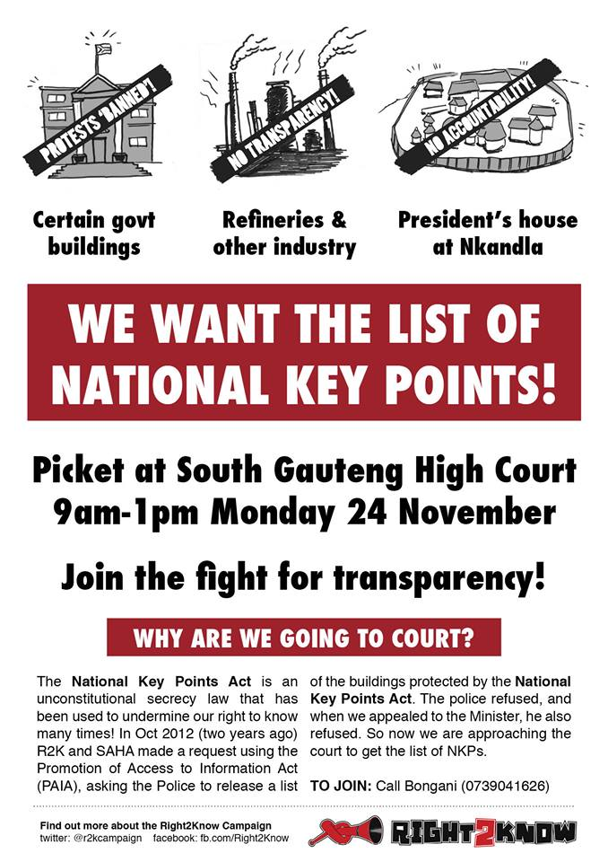 R2K - We want the list of National Key Points