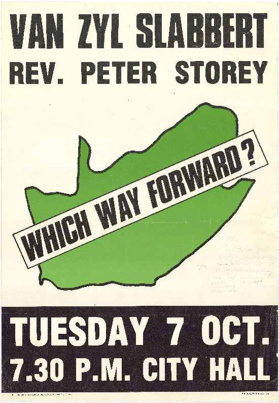 Poster advertising public meeting including Frederick Van Zyl Slabbert and the Reverend Peter Storey, AL2446_1494 :: SAHA Poster Collection