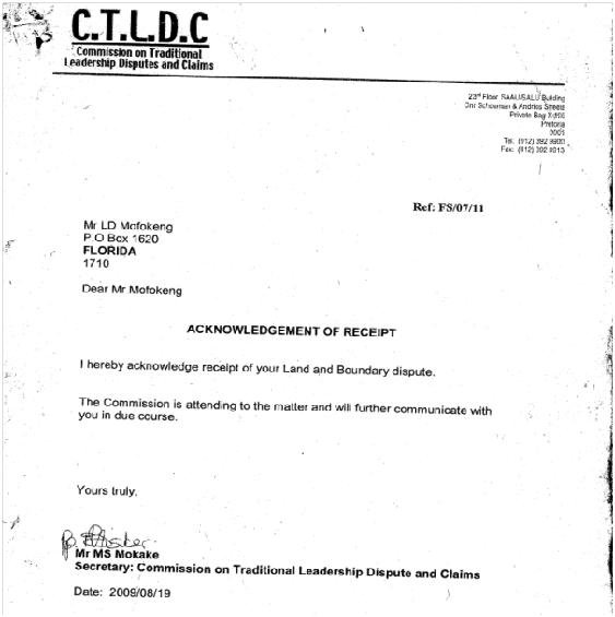 Commission of Traditional Leadership Disputes and Claims, acknowledgement of Morena Mofokeng's application. Archived as SAHA collection AL2878_B01.44.47