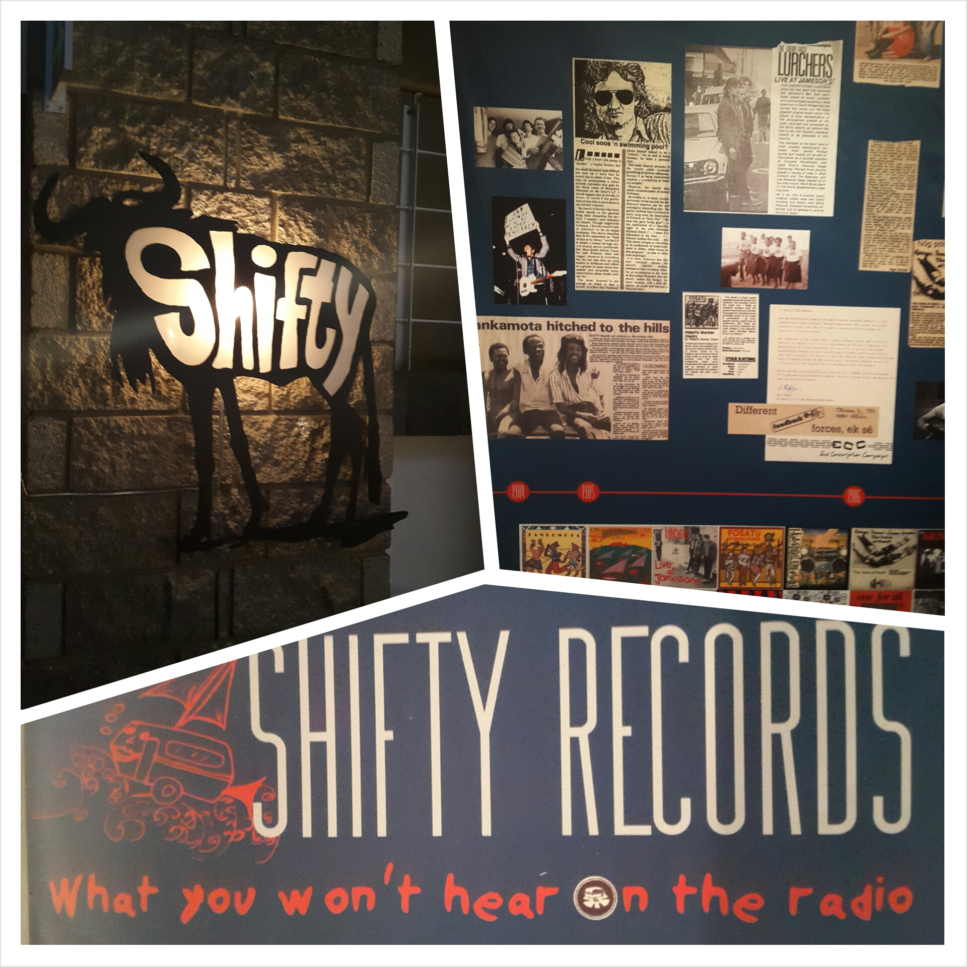 Collage from SAHA's physical exhibition on Shifty Records installed at Alliance Francaise in September 2014