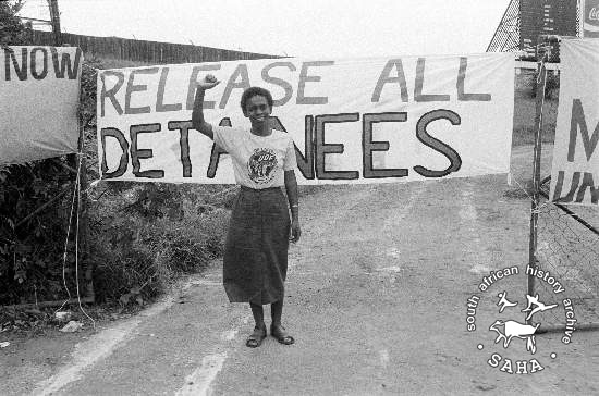 Black and white photograph of Debra Marakalala taken by Gille de Vlieg at the Free Mandela Rally held in Durban, December 15, 1985. Archives in SAHA collections as AL3274_C43.1