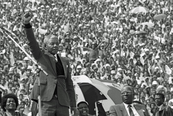 Nelson Mandela at the Welcome Home Rally, Soweto, 13 February 1990. Photographer: Gille de Vlieg. Archived as SAHA collection AL3274_I16