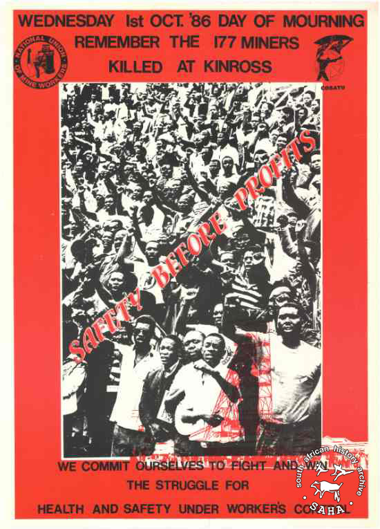 A NUM poster commemorating killed striking miners in 1986.