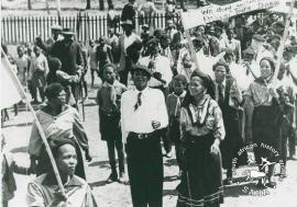 Lilian Ngoyi leading anti-pass march in the 1950's