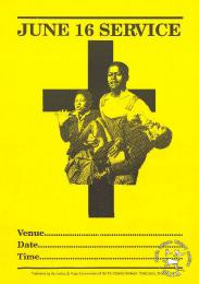 This poster is an offset litho in black on yellow and was issued by the Southern African Catholic Bishops Conference (SACBC) Justice and Peace Commission. The text reads: