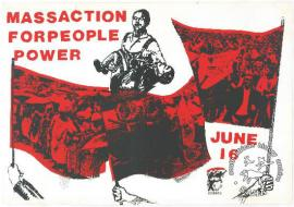 This is a silkscreened poster in black and red issued by the Congress of South African Trade Unions (COSATU).