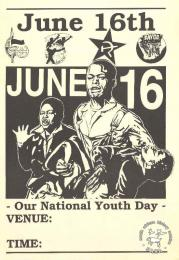 This poster is an offset litho in black and white and issued by the Congress of South African Trade Unions (COSATU), the South African Youth Congress (SAYCO), the African National Congress (ANC), and the South African Communist Party (SACP). It features an image of Hector Pieterson as well as the COSATU, SACP, SAYCO and ANC logos.